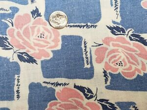 BEST Vintage Feedsack Quilt Fabric 40s Pink Roses on Blue 40s Flour Full Sack