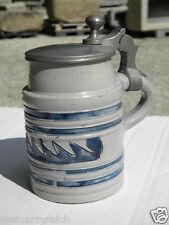 1840 Ritzkrug BIEDERMEIER Bierkrug Salzglasur blau geritzt beerstein Westerwald