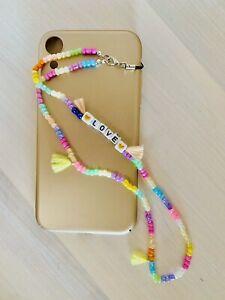 🍎Phone strap beads Style personalizzato con il nome e perline in vetro