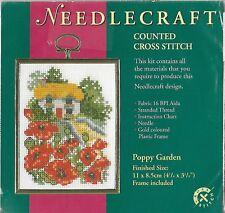 Needlecraft Poppy Garden contados puntada cruzada con Kit de marco
