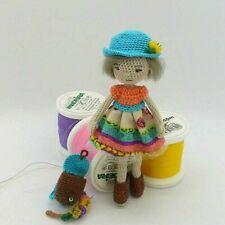 Handmade crochet Tiny cute Doll in hat amigurumi collectible toy pocket sizeOOAK