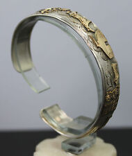 Navajo Thomas BEGAY Sterling Silver & 1/20 12k GF Storyteller Cuff Bracelet