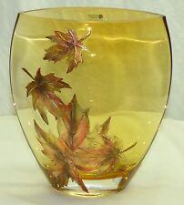 Womar Polish Art Glass Poland Autumn Leaves Series II Hand Painted Amber Vase