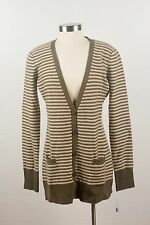 NWT $398 Joie Olive & Tan Cashmere Striped Long Cardigan V-neck Sweater Size L