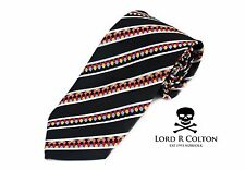 Lord R Colton Masterworks Tie Black Colorful Survival Silk XL Necktie $195 New