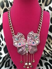 Crystal Butterfly Star Gold Necklace Betsey Johnson Blooming Huge Pink Glitter