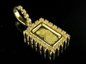 "24K Yellow Gold Lady Fortuna 1Gram Bar Genuine Diamond Pendant 1/2 CT 1.2"""