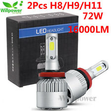 2Pcs Car LED Headlight Kit H8 H9 H11 72W 16000LM 6500K Low Beam Fog Bulb Lamp