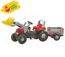Rolly Toys - Junior Red Pedal Tractor, Front Loader, and Slat Design Trailer