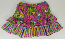 Hanna Andersson pink colorful floral striped ruffled elastic waist skirt size 12