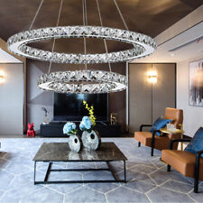 New ListingCrystal Led Pendant Light Ring Cool/Warm White Ceiling Lamp Chandelier Fixtures