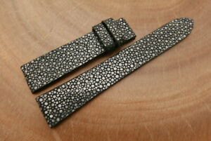 19mm/16mm Black Gray Genuine STINGRAY Skin Leather Watch Strap Band