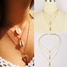 Boho Beach Sea Shell Cowrie Pendant Gold Plated Chain Necklace Jewelry Gifts