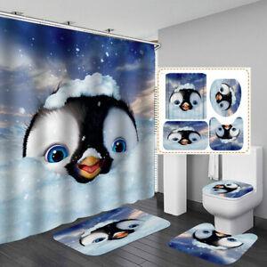 Cute Penguin Door Bath Mat Toilet Cover Rugs Shower Curtain Bathroom Decor