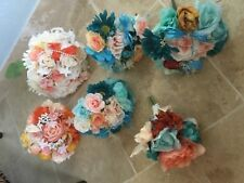 Wedding flowers bridal bouquet decorations coral and ivory aqua 7 bouquet