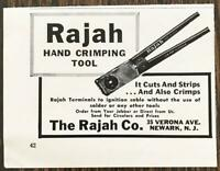 1961 Rajah Hand Crimping Tool Print Ad It Cuts & Strips & Also Crimps