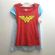 Girls Wonder Woman Sz 3 Stars Short Sleeve T-Shirt Red Attached Cape Hoodie NWT