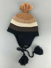 Energie Wool Knit Beanie Hat Woolen Knitted Cap Toque Braun Black Brown Black