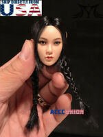 "1/6 Female Head Sculpt Double Braided BLACK Hair For 12"" PHICEN Figure SUNTAN"