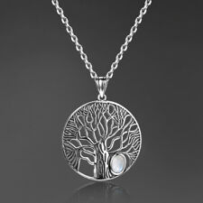 Tree Of Life 925 Silver Oval Genuine Rainbow Moonstone Pendant Jewelry Wholesale