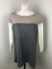 LOFT Pullover Sweater XS Neutral Colorblock Beige Gray Wool Blend