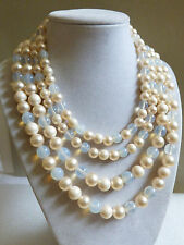 MARVELLA WHITE PEARL FAUX OPALITE MOONSTONE GLASS 4 STRANDS BEADED NECKLACE