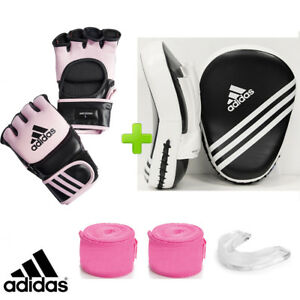 adidas Leather MMA Pink Gloves Sparring Set Focus Mitts, Wraps & Mouthguard