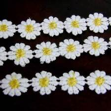 White & Yellow Daisy Lace Trim x 1m Flower Sewing Dressmaking Edging  12mm LC15