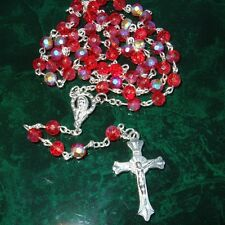 RED AB COATED CRYSTAL ROSARY PRAYER BEADS CHAIN NECKLACE & METAL CRUCIFIX RB24