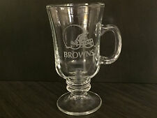 Nfl cleveland browns libbey style irish coffee 8oz clear glass etched rare