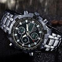 Wasserdicht Uhr LED Herrenuhr Armbanduhr Schwarz Edelstahl Quarzuhr Sport-sscc