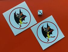 Batfink retro Sticker Decal Graphic Vinyl Label 75mm round x2
