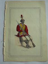 Soldat COCHINCHINE en costume LITHOGRAPHIE originale du recueil  M.BOULGON 1860