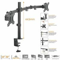 """Dual LCD Monitor Desk Mount Stand Fully Adjustable 2 Screens upto 27"""" (80-161)"""