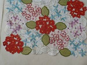 Spring Summer Cut Out Embroidered Placemat Floral w/Leaves In Multi Colors NEW