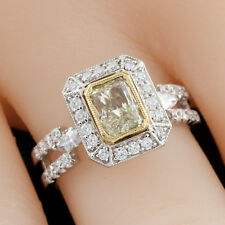 Fancy Yellow Radiant Diamond 18k Two-Tone Gold Ring Size 6.75