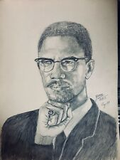 Malcolm X , drawing painting with Ring, 1964 RARE