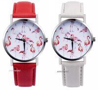 Flamingo Dial Ladies Analog Wrist Watch PU Leather Strap Quartz Wristwatch UK