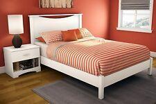 3 Piece White Full Size Panel Platform Bed Set Home Living Bedroom Furniture