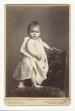 THE WORLDS SWEETEST BABY STANDS ON A CHAIR IN PORTLAND, OREGON (CABINET CARD)