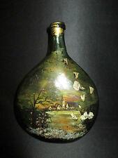 ancienne bouteille fin XVIII ou XIX ème peinte Art Nouveau fin XIX ème