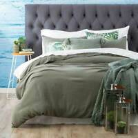 Washed 100% Natural Cotton Textured Duvet Quilt Cover Set | Fern Green
