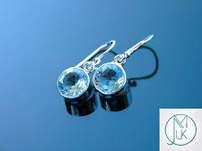 Blue Topaz Natural Gemstone 925 Sterling Silver Earrings Quartz Crystal Healing