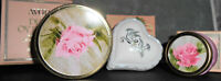 3pc Avon Pink Glass Cream Sachet Perfumed Jars Dew Roses Heart Scent Vanity Lot