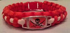 SCUBA Dive Flag Skull & Cross Swords Jolly Roger Calico Pirate Paracord Bracelet
