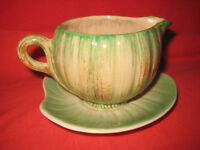 Shorter And Son Jug And Saucer Stoke on Trent Vintage Green Makers Mark Pottery