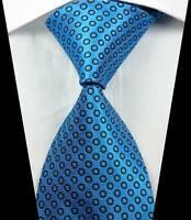 New Classic Patterns Light Blue Black JACQUARD WOVEN 100% Silk Men's Tie Necktie