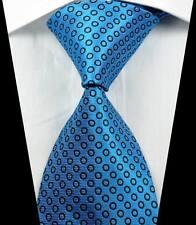 New Classic Motifs Bleu Clair Noir Jacquard Tissé 100% Soie Hommes Cravate Cravate