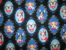 DOG PICTURES PORTRAITS PUPPY IN FRAMES COTTON FABRIC FQ