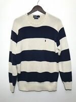 Vintage Polo Ralph Lauren Mens Striped Knit Sweater Size Medium White Navy